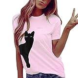 Ode_Joy Girocollo Gatto stampa Maglietta cappotto T-shirt da casual, a maniche Donna Vestito Lungo Slim Senza Manica Casual Elegante Primavera e autunno,Casual T-Shirt Lunga Sexy