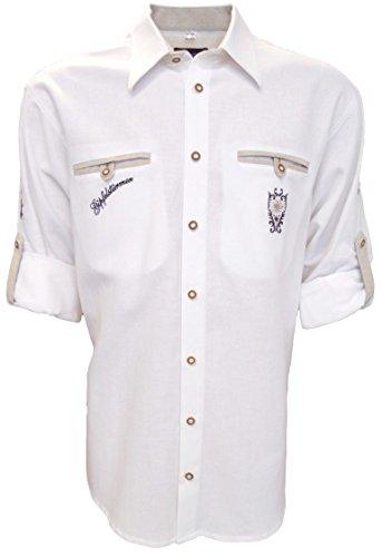 Trachtenhemd für Lederhosen mit Stickerei weiß, Hemdgröße:S