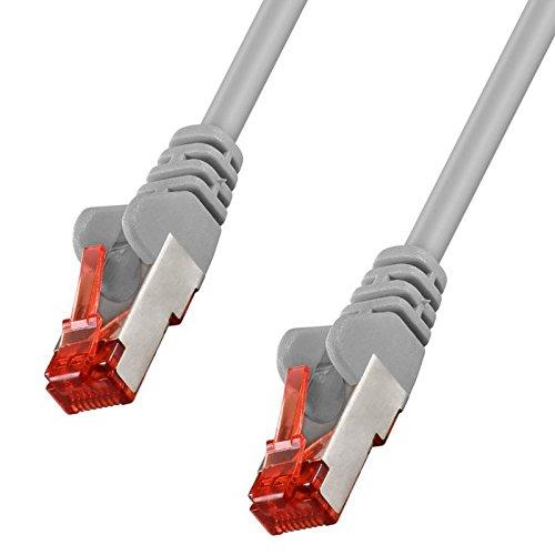 erenLine® 5,0 m Cat 6 Patchkabel/Netzwerkkabel;S/FTP (PIMF) - Ausführung mit Twisted Pair Kabeln für fehlerfreie Übertragung; Folien- und geflechtgeschirmt; mit Rastnasenschutz; vergoldete Kontakte - Twisted-pair-Übertragung