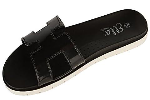 Ella 'Hattie' Glitter Metallic Flip Flop Sandals Black Patent UK 4 - EU 37