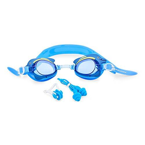 Profi Kinder Schwimmbrille 'Swim Buddy Dolphin' von Sportastisch mit Nasenschutz, Ohrstöpsel & Etui...