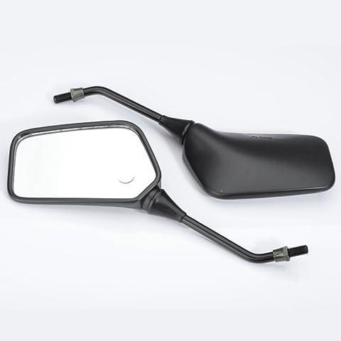 Chronos 10mm espejos negros de la motocicleta Kawasaki KLR600 KLR250 Honda Suzuki Harley BMW