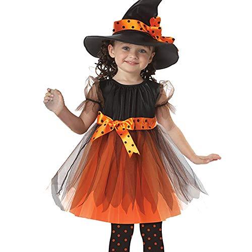 ZZM Halloween-Kleid für Kleinkinder, Kinder, Baby-Kostüm, Tutu, Party, Schleife, gepunktet, Prinzessinnen-Kleid und Hexenhut, Outfit für 2-15 Jahre alte Kinder