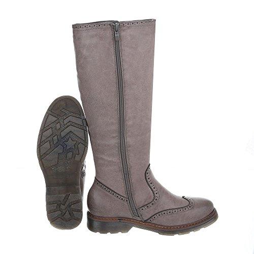 Klassische Stiefel Damenschuhe Klassische Stiefel Blockabsatz Blockabsatz Reißverschluss Ital-Design Stiefel Grau