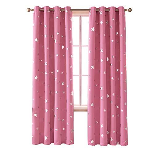 Deconovo Cortina Opaca para Salón y Dormitorio con Estrellas en Plata con Ojales 117 x 138 cm 2 Paneles Rosa