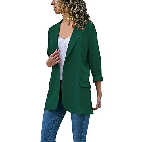 IZHH Damen Strickjacke Mode Frauen Langarm Cardigans Einfarbig Taschenmantel Open Front Business Style Jacken Blazer Strickjacken Trench(Grün,XX-Large)