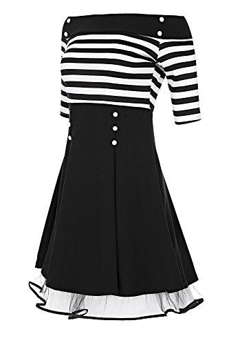 Laeticia Dreams Damen Matrosen Pin Up Petticoat Rockabilly Kleid 50er S M L XL, Farbe:Weiß/Schwarz Streifen;Größe:44 (Gestreiftes Kleid Kostüm)