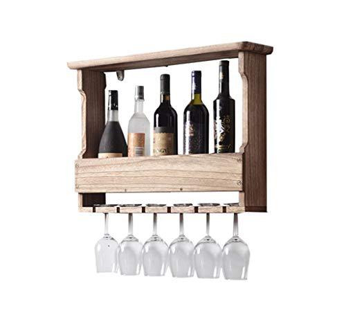Estante de madera para colgar. 5 botellas