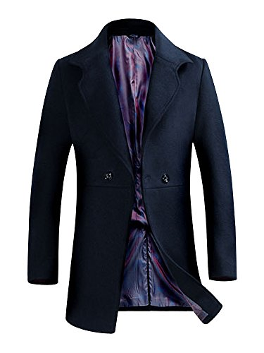 Herren Übergangsmantel Winterjacke Pea Coat Wollmantel Warm Slim Fit Wollmischung #07 Schwarzblau