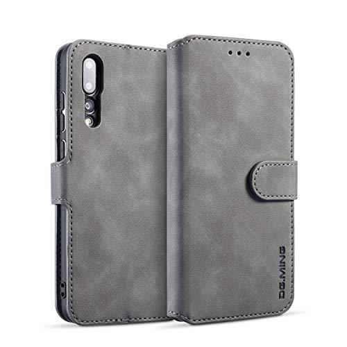 Karomenic PU Leder Hülle kompatibel mit Huawei P20 Pro Handyhülle Brieftasche Bookstyle Schutzhülle mit Kartenfach Standfunktion Magnetverschluss Klapphülle Ledertasche Wallet Flip Case Cover,Grau
