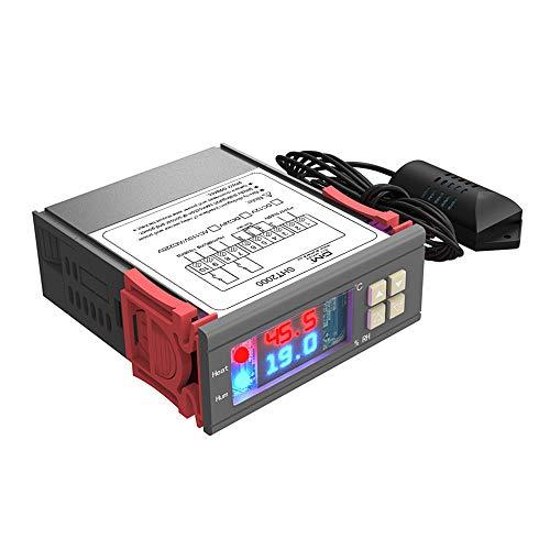 diymore Digital Thermostat Temperatur Luftfeuchtigkeit Controller AC 230V Allzweckheizung Kühlung Befeuchtung Entfeuchtung Hohe Genauigkeit Sensor Relaisausgang für Warmwasserbereiter Luftbefeuchter