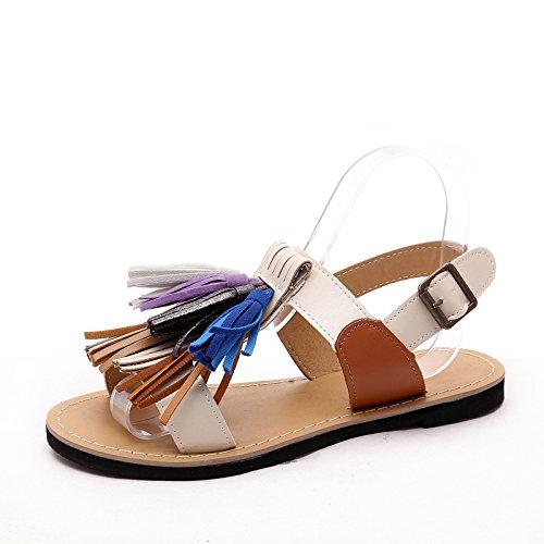 Xing Lin Sandales Pour Dames Tassel Sandals Et Rome, Fond Plat Des Étudiants En Europe Et LAmérique En Été Rice white upgrade