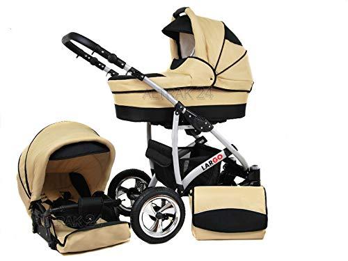 +++ SALE Raff Largo System Kinderwagen Babywagen Buggy, Autositz Kinderwagen System 3 in1 + Wickeltasche + Regenschutz +Insektenschutz (Set 3w1: Wanne + Sportsitz + Babyschale, beige-circles)