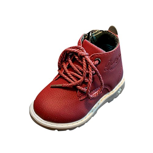 Wawer Coole Kinder Fashion Boys Girls Martin Sneaker Stiefel Lace Up Kinder Baby Freizeitschuhe (29, Rot) (Kleinkind Sneakers Girls)