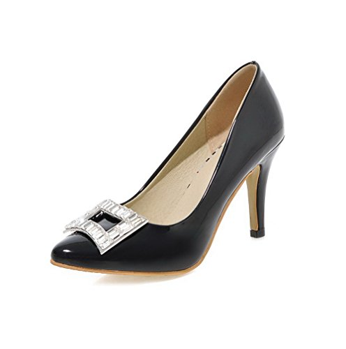 AgooLar Femme Pu Cuir à Talon Haut Pointu Mosaïque Tire Chaussures Légeres Noir