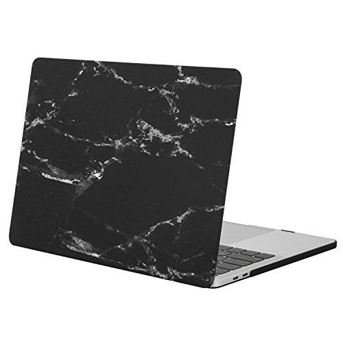 MOSISO Coque Compatible avec MacBook Pro 13 Pouces A2159 A1989 A1706 A1708 2019-2016, Coque Rigide Motifs Compatible avec MacBook Pro 13 Pouces avec/sans Touch Bar&ID, Marbre Noir