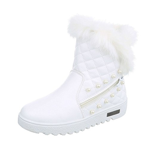 Chaussures femme Bottes et bottines Plat Bottines classiques Ital-Design blanc AN222