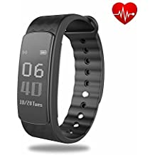 Smart Health Bracelet, Veriya Bluetooth Heart Rate Monitor Smart Fitness Bracelet Sleeping Tracker Pedometer with IP67 Waterproof Sports Swimming Wristband Call Message Reminder Music Player for Android and iOS Smart Phones Such as iPhone 7/7 Plus/6s/6/6 Plus/5/5S/SE, Samsung, Huawei Mate 7/P9, LG, Sony
