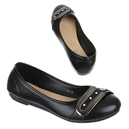 Damen Schuhe, H-15, BALLERINAS STRASS BESETZTE PUMPS Schwarz