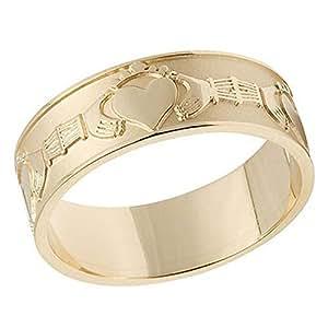 10K Gold Irish Claddagh Gents Wedding Band : US-9.5/UK-S -
