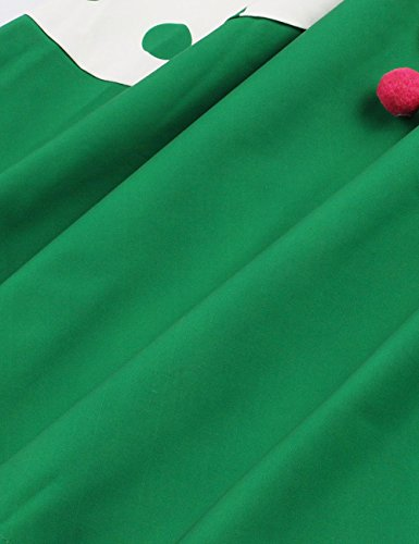 VKStar® 50er Rockabilly Kleid Polka Dots Petticoat Punkte Vintage ärmellos Abendkleid Grün S - 4