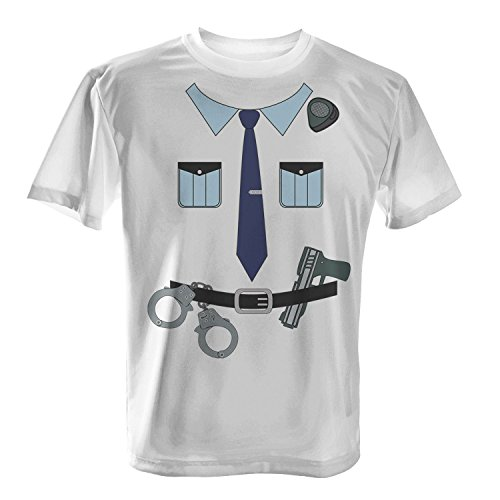 Fashionalarm Herren T-Shirt - Polizisten Kostüm | Fun Shirt als Polizei Uniform Verkleidung für Karneval & Fasching, Farbe:weiß;Größe:XL