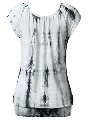 DJT Femme T-shirt Hauts basique Casual Tops Plisse Leger pour ete Noir-Blanc