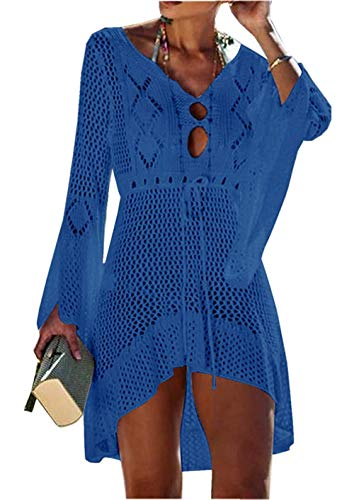 Crochet Beach Cover Up (Yidarton Strandkleid Damen Gestrickte Sommerkleid Bikini Cover Up Crochet Strandponcho V-Ausschnitt Badeanzug Beachwear Cover Up (Blau-3))