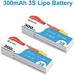 BETAFPV 2pcs 300mAh 3S S-Version Lipo Battery 45C/75C 11.1V XT30 18AWG Silicone Wire for Beta75X 3S HX100 Micro Quadcopter Whoop Drone FPV Racing Drone