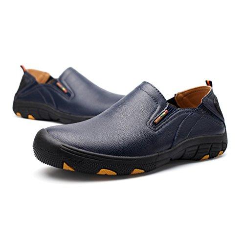 Yiiquan Homme Respirant Moccasin PU Cuir Casual Chaussure Bateau Enfiler Casual Loafers Mouvement de Plein Air Chaussures Bleu Foncé