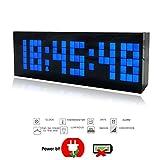 23,5cm Trois Dimension Pendule murale électronique Moderne Grand Chiffre Digitale 3D Horloge murale à Bleu LED Horloge de bureau/Salon avec Alarme clock,Calendrier,Thermomètre avec EU Plug (Bleu)