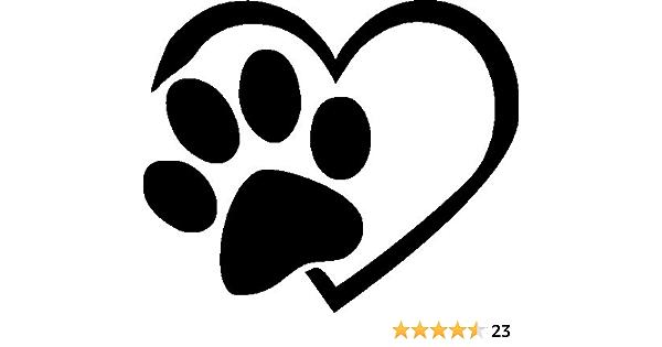 Netspares 120053321 1 X 2 Plott Aufkleber Pfote Herz Love Dog Cat Hund Katze Sticker Fun Auto