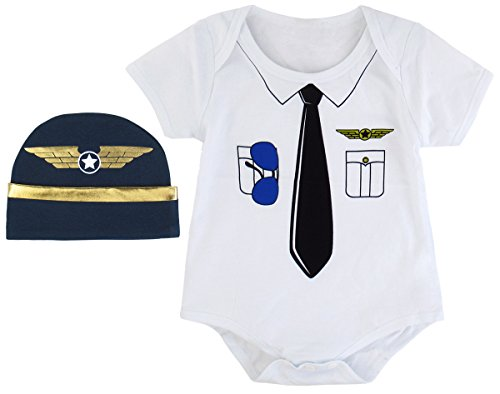 Mombebe Baby Jungen Pilot Kostüm Bodysuit mit Hut (0-3 Monate, (Kinder Pilot Kostüme)
