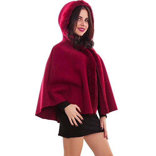 Toocool - poncho donna cappuccio pelliccia mantella cappa giacca cappotto nuovo as-2233 [taglia unica,bordeaux]