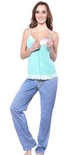 Mija - 3 in 1 Stillpyjama / Stillschlafanzug / Umstandspyjama / Pyjama 4024 Turkis / Blau