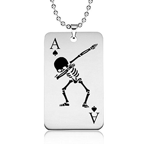 1Stück Einfach Poker Edelstahl Totenkopf Halskette Mann/Frau Persönlichkeit tragen Dekoration Match, 12#, 39.2mm*22.2mm (Niedlich, Zu Machen Leicht Halloween-dekoration)