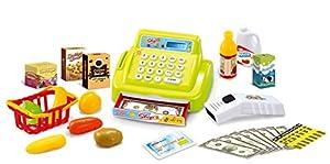 Joueco-Juegos-Caja registradora de Juguete con luz y Sonido + cestas + Productos básicos, bn0211539, Verde Claro/Rojo/Amarillo/Blanco/Azul