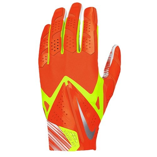 Nike Vapor Fly GF0106-870 Orange/Volt/Silver NFHS/NCAA Magnigrip Football Men's Gloves (size Xlarge)