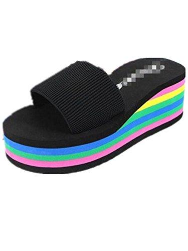Boowhol Damen Zehentrenner Sandalen Komfort Flip-flops mit Absatz Schwarz