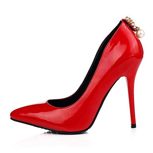 Adee Damen Metalornament Pull auf Patent Leder Pumpen Schuhe Rot