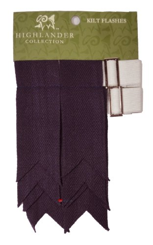 Pure Wool Kilt Flashes in Plain Purple