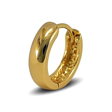 Blue Diamond Club - Mens Single 18ct Gold Filled Small Huggie Hoop Earring 14mm - SINGLE