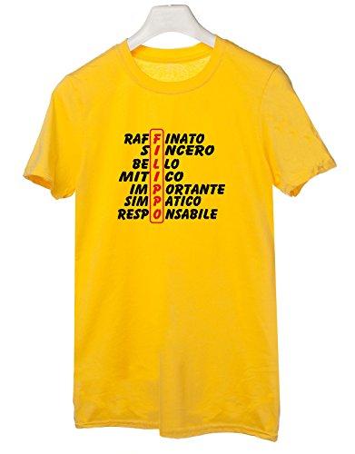 Tshirt compleanno con nome Filippo e aggettivi simpatici - idea regalo - Tutte le taglie Giallo