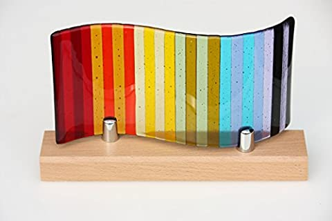 Fused glass rainbow panel, a decorative glass panel with rainbow stripes moulded into a wave shape, mounted on a beech wood