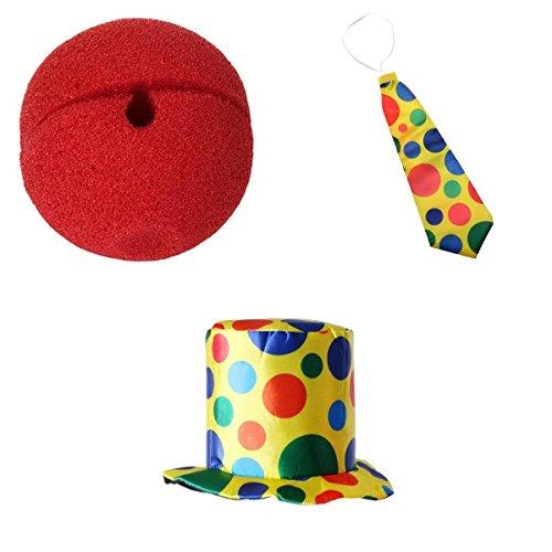 �m Set,(Hut, Rote Nose, Krawatte) (Riesen Clown Hut)