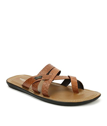 Franco Leone Men's Beige Leather Thong Sandals