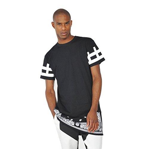 ... Pizoff Unisex Hip Hop Langes T-Shirt mit Paisley Druckmuster und seitlichen  Reißverschluss Y0356- ...