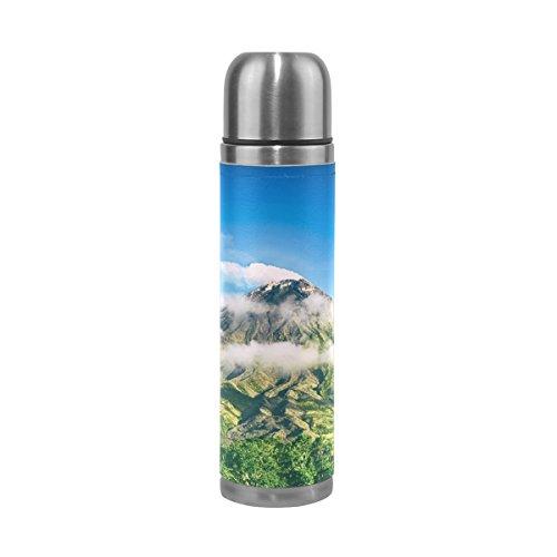 Isaoa 500 ml Boisson Bouteille d'eau en acier inoxydable Vert bouteille de montagne Isolation sous vide Thermos anti-fuites à double paroi isotherme pour l'intérieur Sports de plein air randonnée Course