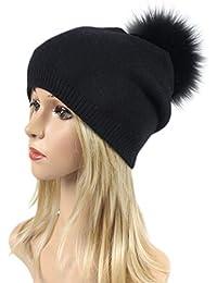 5e19bc8e200909 Smnyi Mode Damen Caps Elegant Mit Bommel Strickmütze Stretch Winter  Einfarbig Hüte Weihnachten…