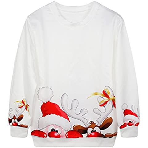 NiSeng Sudaderas manga larga Sweater Pullover Xmas impresión Regalos para navidad Sudadera Invierno Mujer Hombres